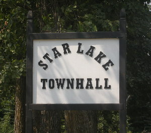Star Lake Township town hall road sign